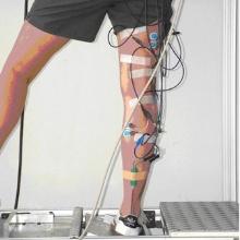 Abgebildet ist ein Bein, das mit Sensoren beklebt ist. Es steht auf einem Wackelbrett.